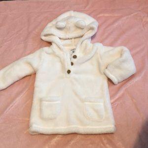 Hooded fuzzy sweatshirt